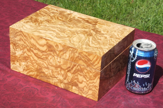 Custom inlaid box with Olive Ash Burl body and lid