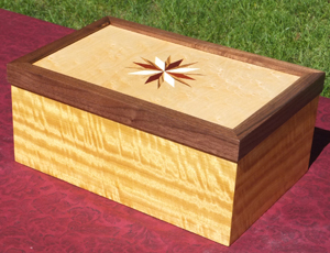 Custom inlaid box with Satinwood body, Walnut trim around lid, Birds Eye Maple Top Star Inlay consists of Bloodwood, Zebrawood and Holly