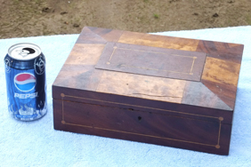 Inlaid Document Box, walnut and birds eye maple veneers