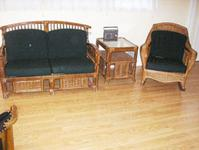 Rattan Settee, Rocker & Table Set  [11-012]New cushions, very comfortable. Perfect for sun porch or patio.$275.00