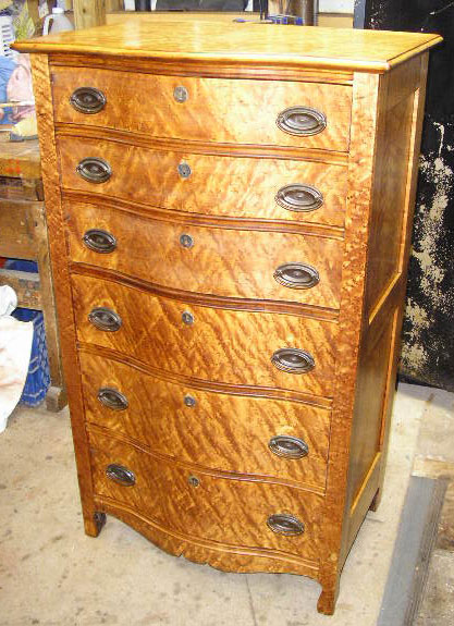 Birds Eye Maple 6 drawer Lingerie Chest, stripped and refinished - Furniture Repairs & Restoration