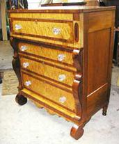 Empire period Tall Chest with Bird's Eye and Curly Maple, Crotch Mahogany, and original Sandwich Glass Knobs