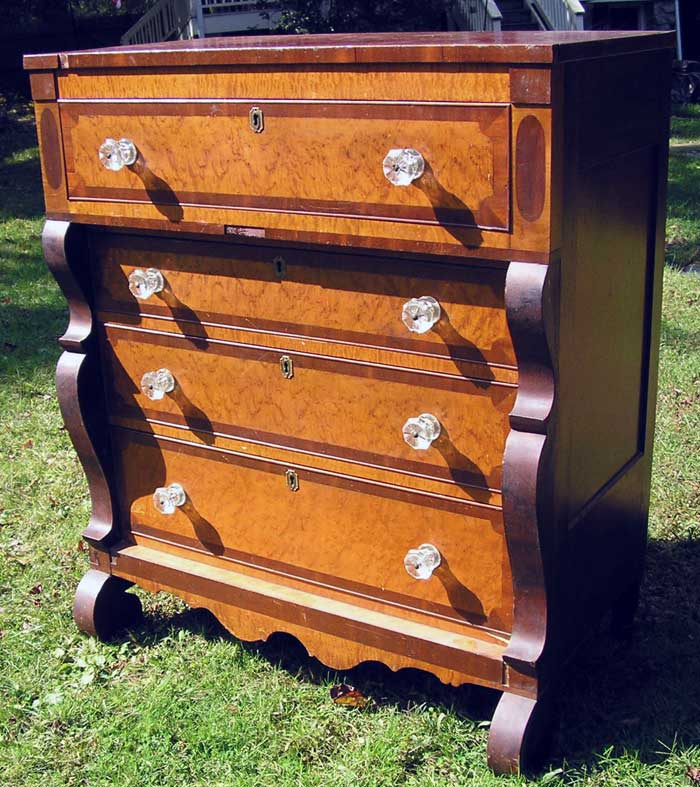 Empire period Tall Chest with Bird's Eye and Curly Maple, Crotch Mahogany,  and original - Furniture Repairs & Restoration