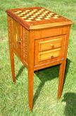 Heavily Inlaid Tramp Art Cabinet with multiple drawers and doors, stripped and refinished.