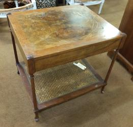 Mid Century Baker Side Table with Olive Burl Veneered Top, stripped and refinished