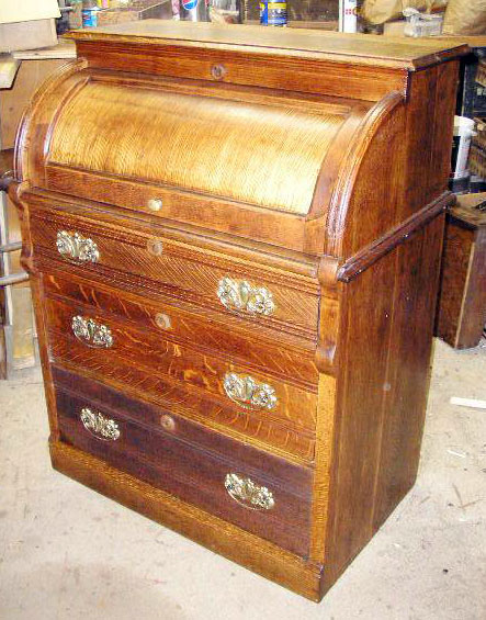 Small Oak Cylinder Roll Top Desk - Furniture Repairs & Restoration