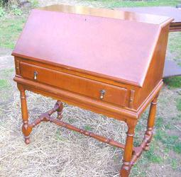 Tiger Maple Open Leg Ladies Desk, stripped and refinished
