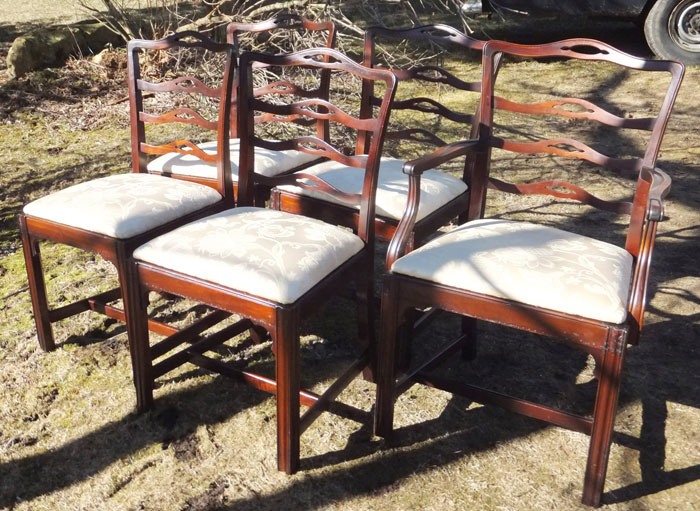 Set Of 5 Chippendale Style Ribbon Back Dining Room Chairs Reupholstered